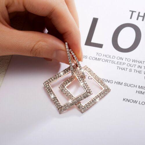 Elegant Women Full Crystal Round Heart Drop Dangle Hoop Earrings Wedding Jewelry