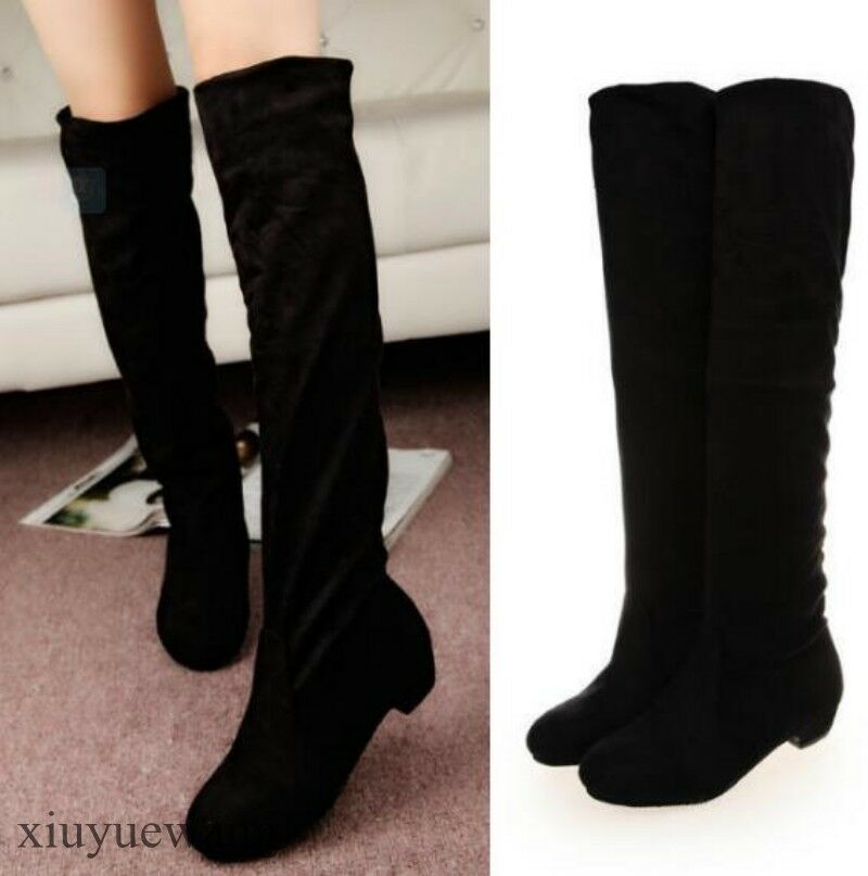 Womens Knee High Boots Round Toe Faux Suede Casual Winter Warm shoes Stylish