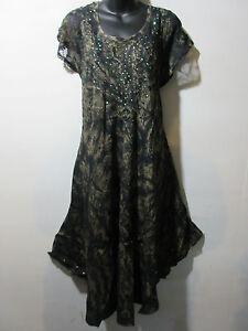 Dress-Fits-XL-1X-2X-3X-4X-Plus-Tunic-Black-with-Gold-Wash-Lace-Sleeves-NWT-G517