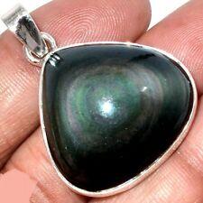 Pendentif protection obsidienne oeil celeste  monture argent 925 ref 9986