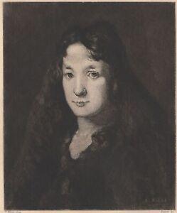 Theodule-Ribot-Portrait-de-femme-Marie-gravure-ancienne-Faivre-XIXe