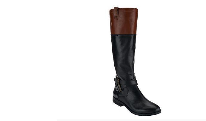 Marc Fisher Leather Riding Boots - audrey  medium calf black cognac 7m  new