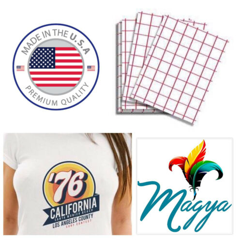 Iron-on Heat Transfer Paper Light Fabrics Red Grid A4 20 Sheets Made In USA