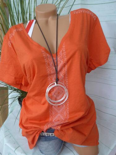 Sheego Shirt Blusa Tunica Tg 744 48//50 a 52//54 Arancione Tono