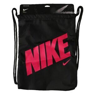 sutil Melodramático captura  Nike Heritage Gymsack Lightweight Drawstring Bag Black/Rush Pink BA5262 016  | eBay