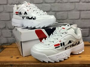 FILA-UK-4-EUR-37-5-WHITE-PATENT-DISRUPTOR-II-BRANDING-TRAINERS-LADIES-CHILDRENS