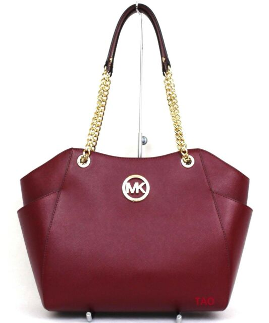cc02ce524d28 Michael Kors Jet Set Travel Large Chain Shoulder Tote Handbag Cherry  Leather New