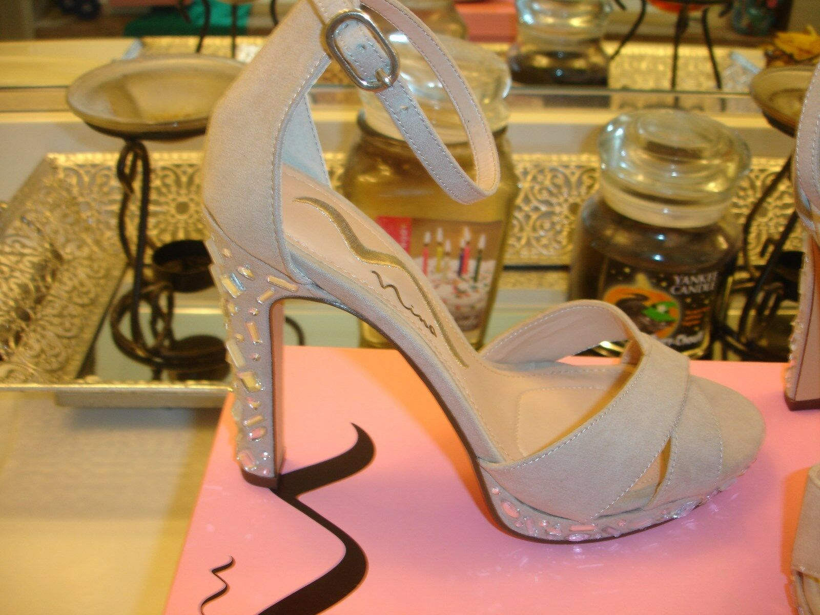 Nina Feyra Champagne Cream Stiletto Heel 99 6  8 8.5 Wedding Prom Bridal
