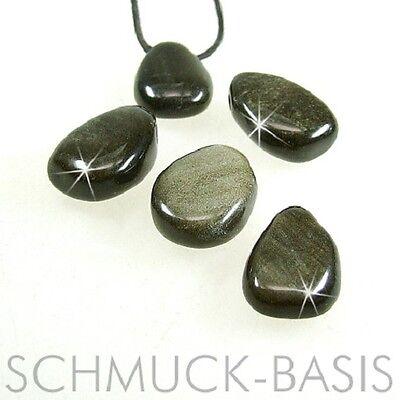 Ehrlich Goldobsidian, Trommelstein - Anhänger Tropfen, Gebohrt; Gold-obsidian