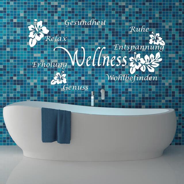 Wandtattoo Wandaufkleber Bad Badezimmer Wellness Hibiskus Blume Dusche +183+