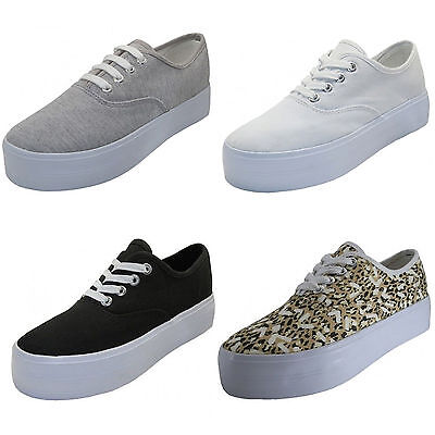 Women's Platform Sneakers Canvas Lace Up High Wedge Fashion Comfort Shoes Sizes