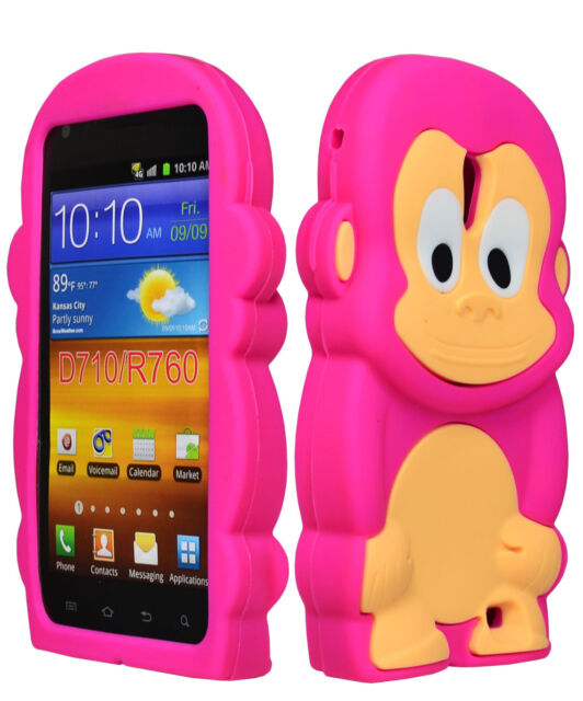 Pink 3D Monkey Animal Silicone Case Cover for Samsung Galaxy S2 Epic 4G Touch
