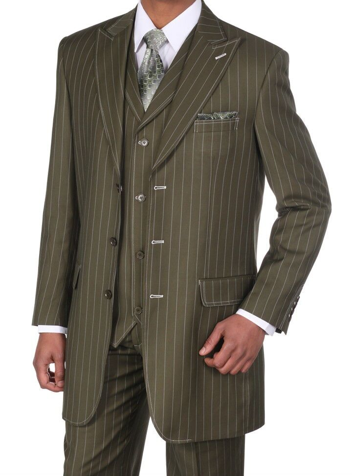 Men's Gangster Pin-Striped Three Button Suit w  Vest 5903 Olive Size 38R-56L
