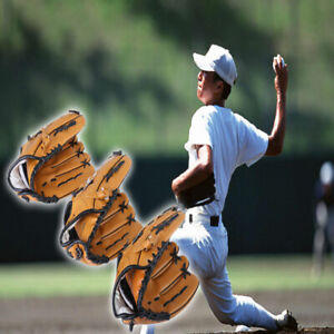 New-Leather-Softball-Gloves-Black-Brown-Baseball-Glove-Comfortable-Usage-Adult
