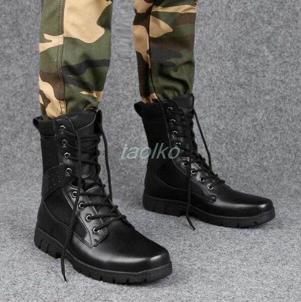 Men's Lace Up Round Toe Military High Top Flats Ankle Boots shoes Combat Work sz