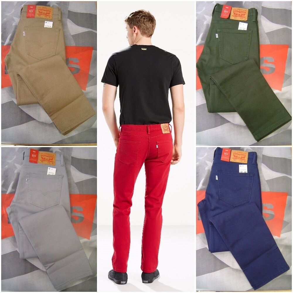 NEW LEVI'S MEN'S 511 SLIM FIT 2-WAY COMFORT STRETCH JEANS ALL COLORS ALL SIZES