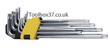 Bergen Tools 9pc Extra Long Torx Star Key Set Torxs Bits T10-T50 B1514