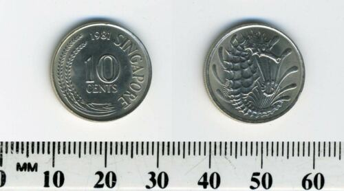 Singapore 1981-10 Cents Copper-Nickel Coin Stylized Spotted Seahorse