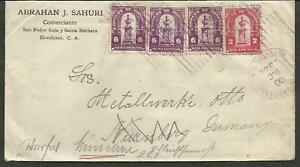 HONDURAS TO GERMANY 1924 COVER SANTA BARBARA CANCEL VF