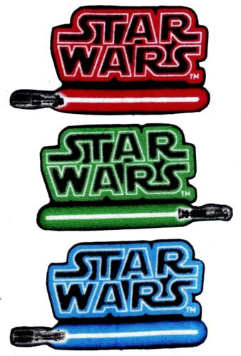 "3/"" Star wars logo red green blue fabric applique iron on character"