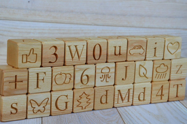 26 English Wood Alphabet Blocks All in 1  ABC Wood Blocks Christmas Baby Shower