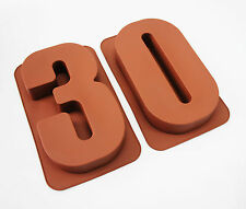 Item 8 LARGE 12 SILICONE NUMBER MOULDS 30 CAKE TINS BAKING PAN BIRTHDAY 30th MOLD