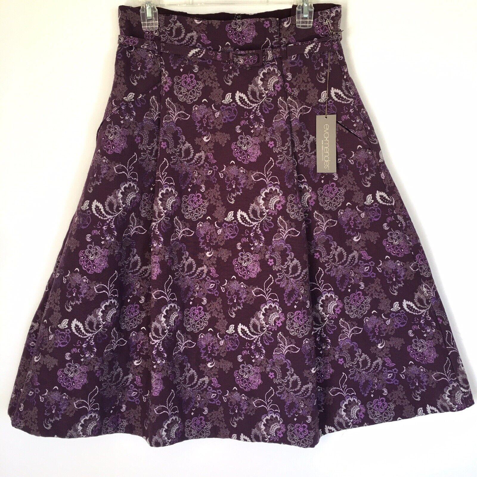 NY&Co Eva Mendes Emmanuele Purple Jacquard Skirt Size 10 A Line High Waist
