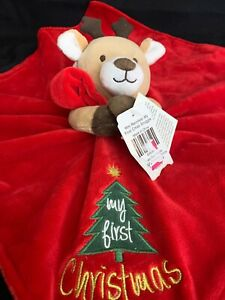Baby/'s Rudolph the Red-Nosed Reindeer Rattle My First Christmas Security Blanket