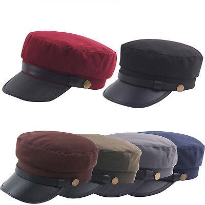 Men//Women Army Leather Cap Cadet Military Navy Sailor Flat Top Sun Hat Vintage