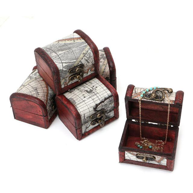 1Pc Vintage Wooden Map Storage Box Metal Locking Jewelry Cufflinks Chest Case