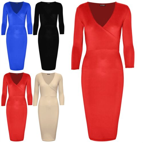Ladies Women V Neck 3//4 Sleeve Wrap Cross Over Stretchy Party Bodycon Midi Dress