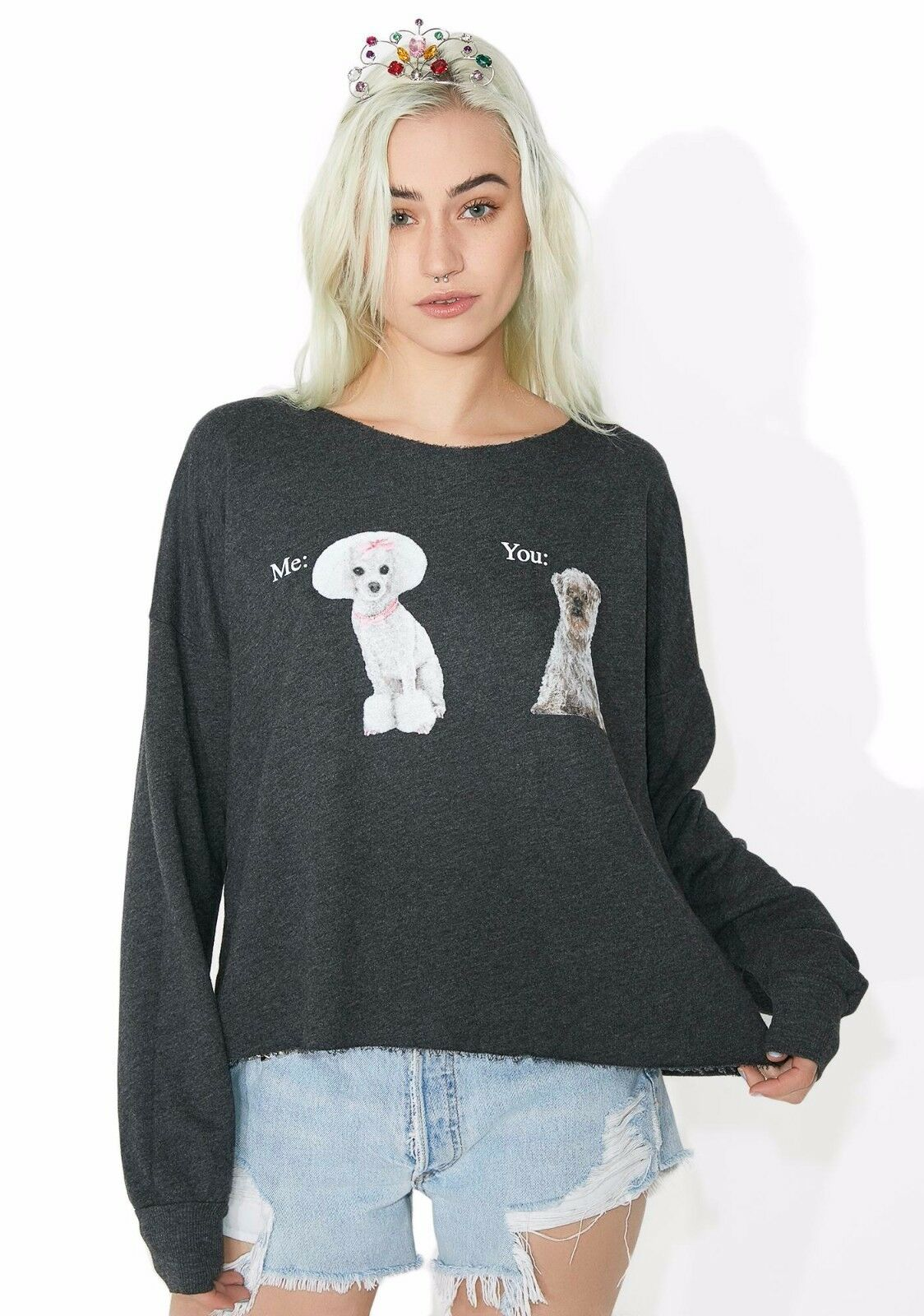 Neuf Wildfox couture me VS vous 5AM Sweat-shirt Pull-over Sweater Top