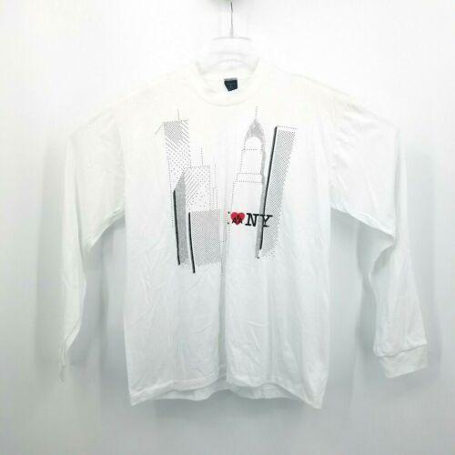 Vtg Aus-Tex I Love NY Skyline AA Airline White T S