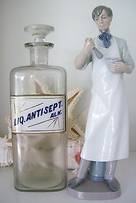 "RARE 12"" Glass Label Apothecary Bottle~LUG~1800's~LIQUID ANTISEPTIC SOLUTION"