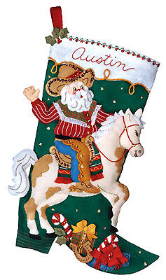 "Bucilla 18"" Christmas Felt Stocking Kit ""Cowboy Santa"" Horse Presents Candy Cane"
