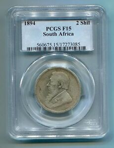 PCGS-Certified-F15-1894-2-Shillings-Kruger-Era-Coin-South-Africa-Zar