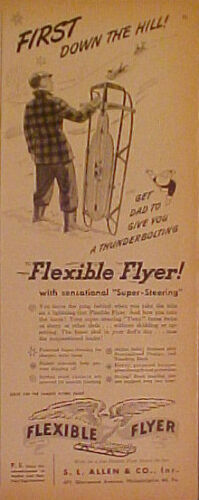 1950 Flexible Flyer Sled Flying Eagle Kids Toy Trade AD