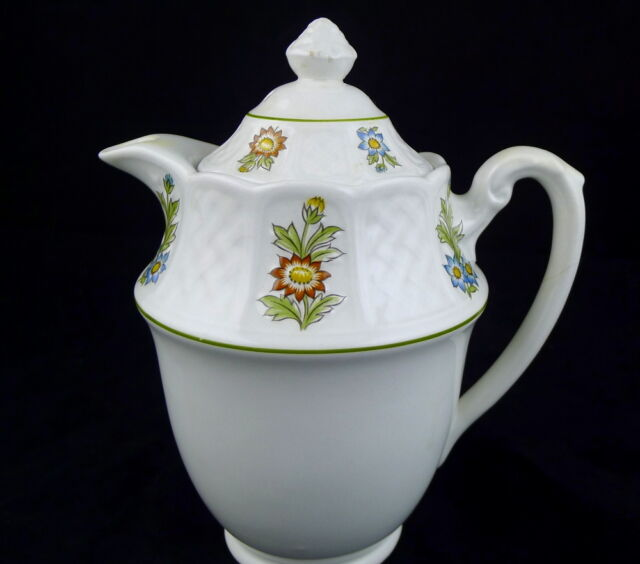 June Garden Teapot Royal Cauldon Bristol England Ironstone White 7'