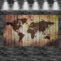XXL Weltkarte eingebrannt in Holz 160cmx105cm auf Leinwand Keilrahmen Loft Bild