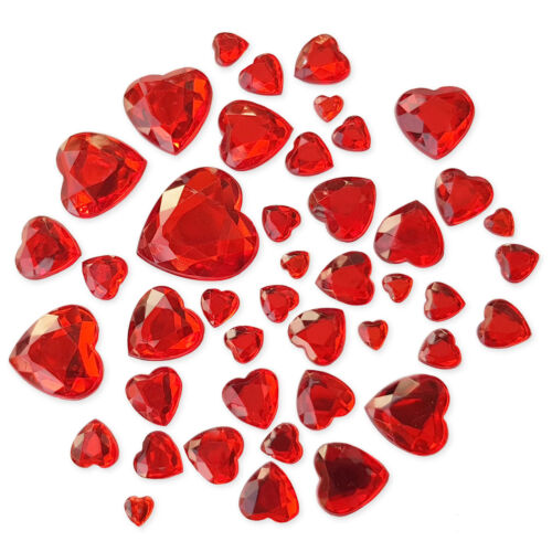 50pcs Valentines Heart Flatback Crystal Rhinestone Embellishments Gem Crafts