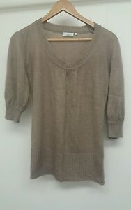 New-Look-Dark-Beige-Jumper-Size-10-Short-Sleeve-lt-J4010