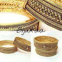 Gold Plated Bangle Set Polki Indian Bollywood Jewellery Wedding Jewelry