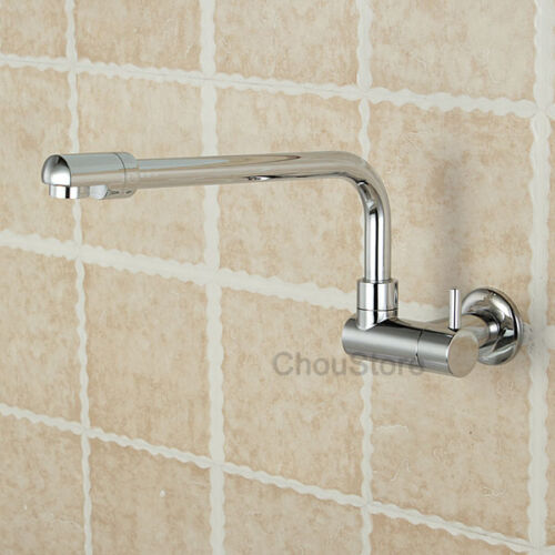 Chrome Brass Kitchen Sink Faucet Long Swivel Spout Cold Water Tap Wall Mounted