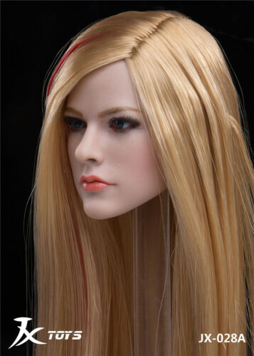 1//6 Female Head Girl Avril Blonde Hair Carved Model Toy F//Figure Doll