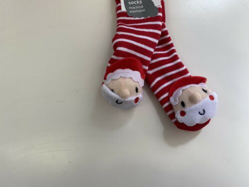 BABY CHRISTMAS SOCKS WITH RATTLES BNWT