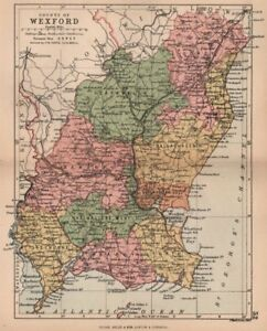 Wexford Map Of Ireland.Details About County Wexford Antique County Map Leinster Ireland Bartholomew 1882