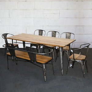 Details About Tolix Style Dining Sets Rectangular Table Chairs Steel Metal Wooden Restaurant