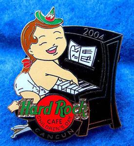 Cancun-Mexico-ENFANTS-Jour-Bebe-Fille-amp-Noir-Droit-Piano-Hard-Rock-Cafe-Broche