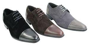 Chaussures amp; Gris Marron Homme Cuir Italienne Noir Lacée Daim Talon RwTtqrR