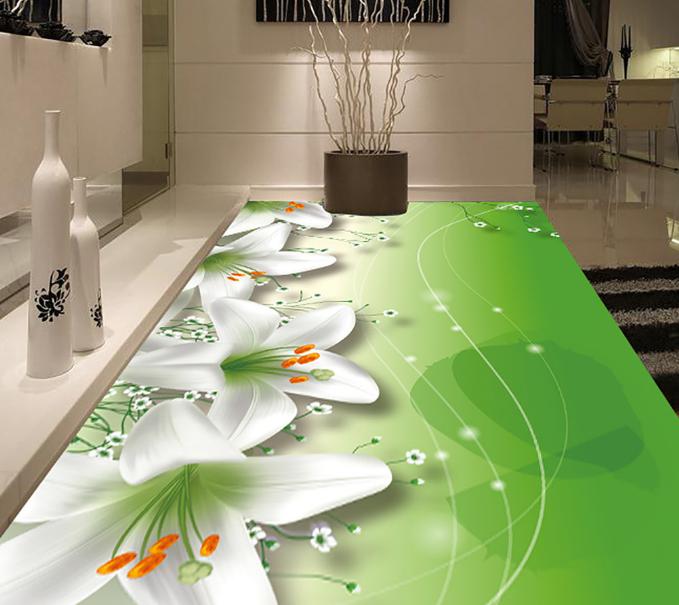 3D Weiß Lily Flower 7 Floor WallPaper Murals Wall Print Decal 5D AU Lemon